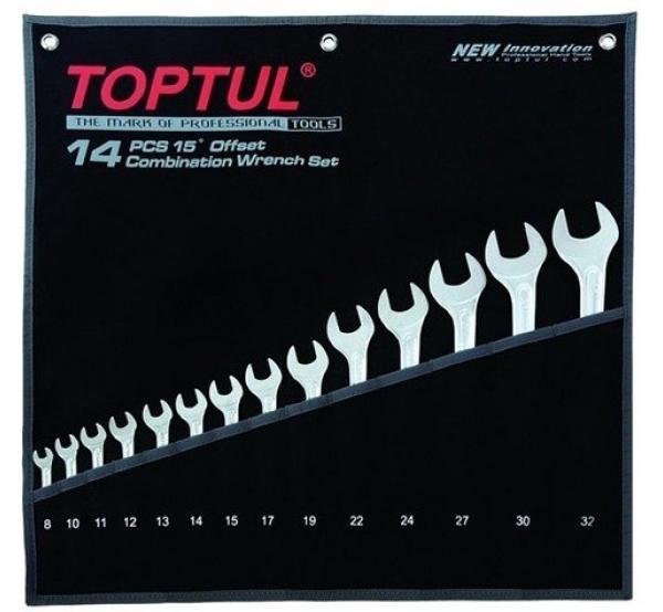 Набор ключей комбинированных, 8-24мм, 14шт, GPAQ1402, Toptul