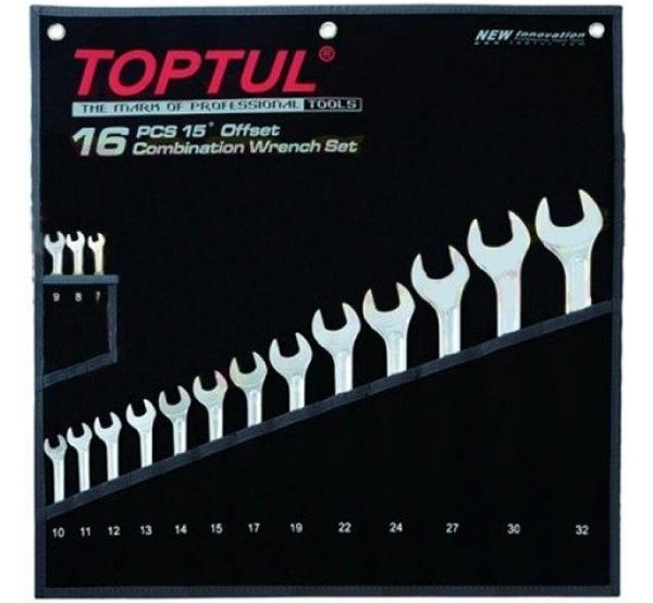 Набор ключей комбинированных, 7-32мм, 16шт, GPAX1601, Toptul