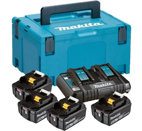 Зарядное устройство + 4 аккумулятора Makita DC18RD (197626-8)